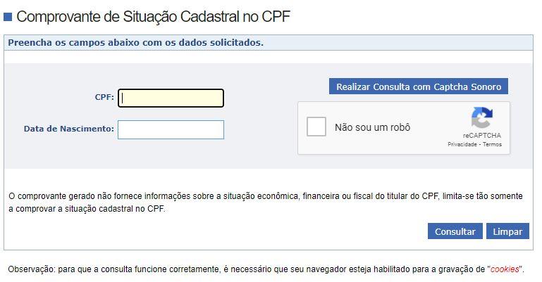 Consultar CPF Grátis Receita Federal