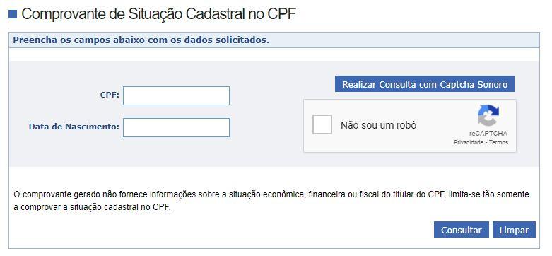 Consultar CPF Receita Federal